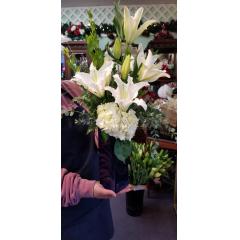 DiBella Flowers & Gifts Las Vegas - Keepsake blue vase with white hydrangea, lilies and more.