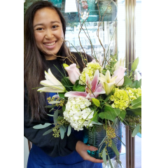 DiBella Flowers & Gifts Las Vegas - Pink lilies, Pink roses and green hydrangea in a keepsake teal vase chosen by out very own Kayla!  *Vase can be used as a candle holder.