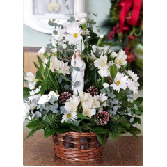 DiBella Flowers & Gifts Las Vegas - Mary and baby Jesus statue surrounded by soft white blooms.