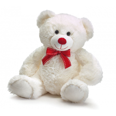 "DiBella Flowers & Gifts Las Vegas - 12"" WHITE BEAR WITH RED BOW"