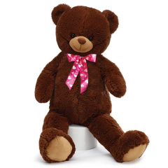 DiBella Flowers & Gifts Las Vegas - PLUSH DARK BROWN BEAR WITH HOT PINK BOW This bear is soft and floppy with a pink ribbon that has hearts on it at the neck. Height: 36""