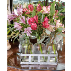 DiBella Flowers & Gifts Las Vegas - Three vases of fresh Alstromeria Lilies in a metal crate. Perfect for a desktop! * Alstromeria colors may vary.
