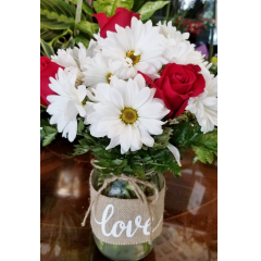 DiBella Flowers & Gifts Las Vegas - Fresh daisies and roses in burlap wrapped mason jar.