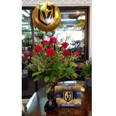 DiBella Flowers & Gifts Las Vegas - A dozen of our gorgeous long stemmed roses with Golden Knights Beanie Bear, Ethel M Chocolates and Balloon.  Limited Quantities Available! *Red roses will be sent if no color is chosen