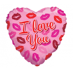 "DiBella Flowers & Gifts Las Vegas - 17"" I LOVE YOU LIPS ON PINK HEART"