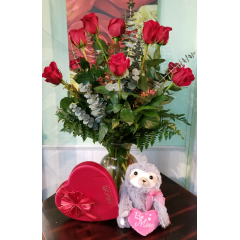 DiBella Flowers & Gifts Las Vegas - Sloth Love Rose Package Adorable Sloth, Ethel M Chocolates, and One Dozen Long Stemmed Roses.
