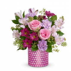DiBella Flowers & Gifts Las Vegas - They'll bubble over with happiness when this pink and purple surprise arrives! Presented in a charming bubble-textured pink glass vase, this beautiful bouquet of pink roses and pretty purple blooms is a delight on any occasion.