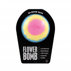 DiBella Flowers & Gifts Las Vegas - A primrose bath fizzer with a surprise inside This floral fizzer packs a punch of pure flower power. Perfect for adults and kids alike. (Everyone loves surprises.) Use one bomb per bath.  Warning: Small parts. Not for children under 3. Your bath bomb will arrive in our signature packaging, as shown. Approximate weight: 7.0 oz (This bomb is 2.75 inches in diameter and is about the size of a tennis ball.) Our packaging is made from recycled materials. Please keep that going.