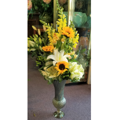 DiBella Flowers & Gifts Las Vegas - The Sue Bouquet is fill with bright yellow and crisp whites in a tall elegant keepsake vase. Wow factor!
