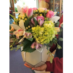 DiBella Flowers & Gifts Las Vegas - Perfect Poetry Bouquet- Perfect pastels, Orchids, Tulips, Hydrangea and more in keepsake white vase.