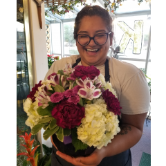DiBella Flowers & Gifts Las Vegas - Purple and white blooms in keepsake vase. These beautiful blooms were chosen by our very own eternally cheery, caffeine addicted, Rebecca.