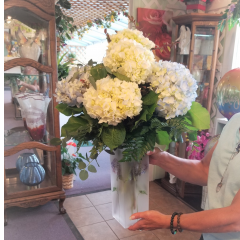DiBella Flowers & Gifts Las Vegas - Keepsake frosted painted vase full of seasonal hydrangea blooms.