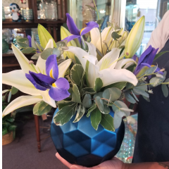 DiBella Flowers & Gifts Las Vegas - Blue Iris and white lilies in keepsake blue bubble bowl.
