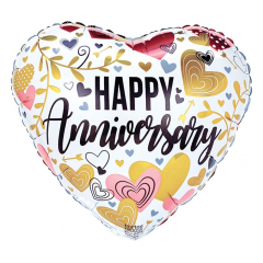 "DiBella Flowers & Gifts Las Vegas - 17""PKG ANNIVERSARY METALLICS ON HEART"