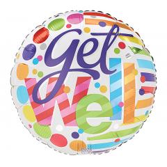 "DiBella Flowers & Gifts Las Vegas - 17""PKG GET WELL SOON DOTS AND STRIPES"