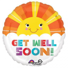 "DiBella Flowers & Gifts Las Vegas - Cheer up a recovering loved one or friend with this 28"" large unique shape Get Well Soon Smiley Sunshine mylar foil balloon."