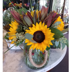 DiBella Flowers & Gifts Las Vegas - Sunflower Lantern bouquet  Fresh fall Sunflowers and burgundy toned Safari Sunets and Seeded Eucalyptus in a keepsake lantern.