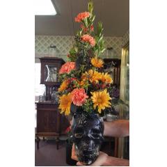 DiBella Flowers & Gifts Las Vegas - Fresh fall blooms in a crystal keepsake skull perfect for Halloween!