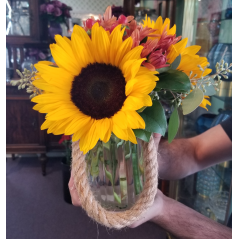 DiBella Flowers & Gifts Las Vegas - Sunflowers and bronze fall poms in keepsake glass lantern