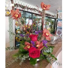DiBella Flowers & Gifts Las Vegas - Raul's high style rose and Cymbidium Orchid Centerpiece.