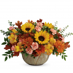 DiBella Flowers & Gifts Las Vegas - Like a ray of autumnal sunshine, this stunning sunflower bouquet brightens everyone's day, especially when they realize it's arranged in a beautifully practical, hand-glazed, oven-to-table stoneware serving bowl!