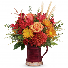 DiBella Flowers & Gifts Las Vegas - Celebrate the harvest season with the hearth-inspired hues of this lush autumnal bouquet, hand-arranged in a glazed, food-safe ceramic pitcher. Lovely as a vase or for serving your favorite fall drinks!