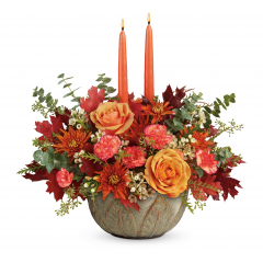 DiBella Flowers & Gifts Las Vegas - Warm their hearts and brighten their table with this lush fall rose centerpiece, arranged in a hand-glazed, oven-to-table stoneware serving bowl they'll enjoy for many years to come!