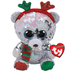 DiBella Flowers & Gifts Las Vegas - My friends all call me Mistletoe and you can do the same. I am a very special bear so don't forget my name. I'm a sequin polar bear with antlers on my head. I've dressed up in my very best so I can pull the sled. My sequins shine and sparkle bright they'll help Santa see through the night. My sequins flip over to dazzling silver or glisten from pink to white. Everyone will recognize me as we all take flight.  BIRTHDAY:  December 27  POEM:  I'm a polar bear from the North I travel the tundra back and forth I love the cold, I love the snow I've been told my sequins glow!  This plush features color-changing reversible sequin fabric Swipe one way and it becomes one color, swipe the other way and it becomes another! Dazzling fluorescent, iridescent, pearlescent, and even holographic colors! Includes official Ty Heart with birthday and poem Surface clean only