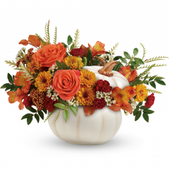 DiBella Flowers & Gifts Las Vegas -  Add a touch of enchantment to your fall gatherings with this magnificent mix of autumnal roses and mums, gathered in a white ceramic pumpkin that's sure to be an annual décor favorite! * Greenery and filler may vary dependent on availability