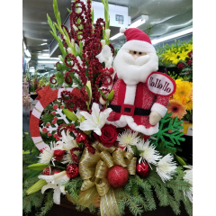 DiBella Flowers & Gifts Las Vegas - Need to impress this holiday? Send this amazing basket of blooms. Keepsake Santa surrounded by fresh Christmas flowers!