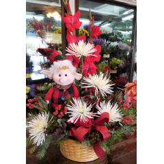 DiBella Flowers & Gifts Las Vegas - Fresh Christmas blooms with keepsake elf figurine. The perfect gift for lovers of the season!