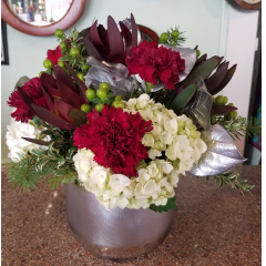 DiBella Flowers & Gifts Las Vegas - Burgundy, white and silver in keepsake vase. Hydrangeas, burgundy carns, safari sunsets, coffee bean and more.