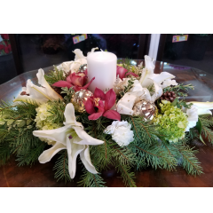 DiBella Flowers & Gifts Las Vegas - Hydrangea, lilies and Cymbidium orchids and more with fresh greens and candle. Perfect for family dinner. *Colors and trim can be changed upon request.