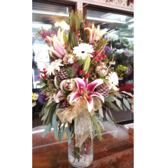 DiBella Flowers & Gifts Las Vegas - Gorgeous mix of fresh flowers with gold accents and keepsake vase with golden swirl design.