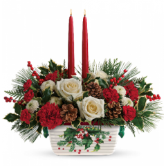 DiBella Flowers & Gifts Las Vegas - The holiday table shines with this festive centerpiece of roses and winter greens, artfully arranged inside an oven-to-table stoneware serving dish that's hand-painted with a classic holly motif!
