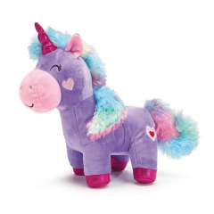 DiBella Flowers & Gifts Las Vegas - Plush lavender unicorn with rainbow mane and tail, pink muzzle and hearts on the cheeks. Its eyes and mouth are embroidered along with a red and pink heart on its back end.