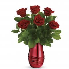 "DiBella Flowers & Gifts Las Vegas - This bouquet of red roses is accented with lemon leaf. Delivered in a Radiantly Rouge Vase. Approximately 14 3/4"" W x 18 1/4"" H"
