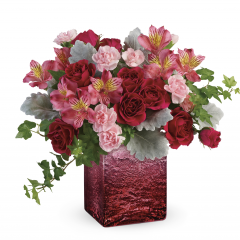"DiBella Flowers & Gifts Las Vegas - Pink spray roses, pink alstroemeria, and light pink miniature carnations are arranged with greenS. Delivered in an Ooh La Ombre cube. Approximately 14"" W x 11"" H"