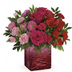 "DiBella Flowers & Gifts Las Vegas - Make them go ""ohhhh!"" with this amazing ombre gift, featuring a breathtaking spectrum of pink blooms in a shimmering distressed mercury glass cube with unique ombre shading. Approximately 13 1/2"" W x 12"" H"