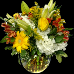 DiBella Flowers & Gifts Las Vegas - Large Bubble bowl full of fresh Lilies, Roses, Hydrangea, Alstromerias, Gerbera Daisies, lush filler and greens.