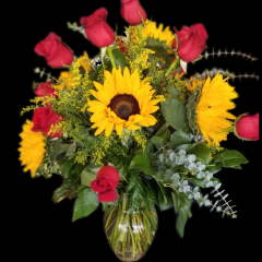 DiBella Flowers & Gifts Las Vegas - Bright Sunflowers and Red Roses! These beautiful blooms were chosen by our very own eternally cheery, caffeine addicted, Rebecca.