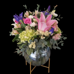 DiBella Flowers & Gifts Las Vegas - Blue opalescent bubble bowl on golden stand full of fresh hydrangea, roses, iris, lilies and more. Named after our Sophia, who has all the best dance moves.