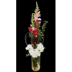 DiBella Flowers & Gifts Las Vegas - Roses, snapdragons, safari sunsets and hydrangea in tall cylinder vase.