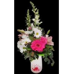 DiBella Flowers & Gifts Las Vegas - Keepsake love vase with fresh pink and white blooms.