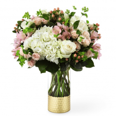 DiBella Flowers & Gifts Las Vegas - Send a lovely message to someone special. A glass cylinder vase with golden metallic base holds a captivating arrangement of fresh flowers in lovely shades. Featuring hydrangea, roses, spray roses, alstroemeria, and more.  * shades may vary slightly due to availability
