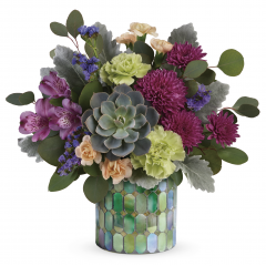 DiBella Flowers & Gifts Las Vegas - Inspired by stained glass, this unique mosaic glass cylinder lends an organic feel to this extraordinary jewel-toned bouquet of blooms and succulent!