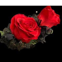DiBella Flowers & Gifts Las Vegas - Forever Double Rose Corsage These are preserved roses that last a year or longer. Our special process preserves REAL roses to last...just like your love! *Ribbon choice can be added to special instructions  * Does NOT include a wristlet- Wristlet must be chosen separately * Red only