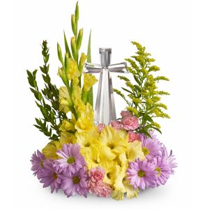DiBella Flowers & Gifts Las Vegas - Crystal Cross by Teleflora Celebrate the reason for the season with radiant flowers cradling an exquisitely crafted Crystal Cross. This lovely gift will be a source of inspiration for years to come.