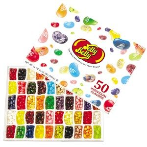 DiBella Flowers & Gifts Las Vegas - 50-Flavor Gift Box Our BEANORMOUS Jelly Belly 50-Flavor Gift Box features every bean in our Official 50 Flavor line-up including Very Cherry, Buttered Popcorn, Green Apple and all the rest. There's also a flavor guide on the inside lid that names each flavor. It's our most popular item, and when you get it you'll see why!
