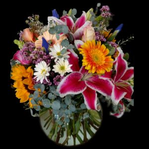 DiBella Flowers & Gifts Las Vegas - Gorgeous large bubble bowl fulled with a bright mix of fresh blooms! Roses, Gerberas, Lilies and more in brilliant colors!